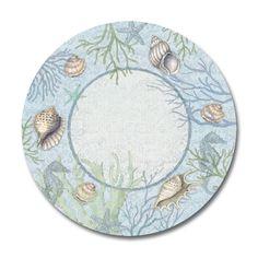 Melamine Dinnerware Plates Plastic Sets of 4 Dinner Plates Nautical Decor Shells #KellerCharles