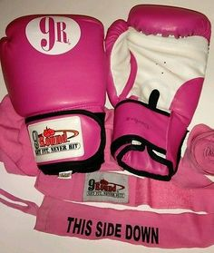 9 Round Boxing Gloves & Straps PINK 12oz Kickboxing Fitness Women Exercise Works