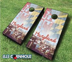 This top of the line Vintage Maryland Cornhole Set is sure to bring life to any party! www.ajjcornhole.com