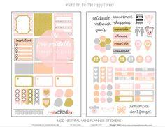 Mini Happy Planner - Mod Neutral Planner Stickers - Vintage Glam Studio