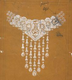 Croquis du collier Cartier en platine et diamants de Marjorie Merriweather Post http://www.vogue.fr/joaillerie/a-voir/diaporama/joaillerie-bijoux-cartier-de-marjorie-merriweather-post-exposition-hillwood-estate-museum-gardens-washington-dc/19183/image/1011538#!croquis-du-collier-cartier-en-platine-et-diamants-de-marjorie-merriweather-post
