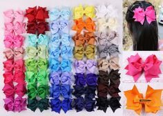 """Wholesale 160/200/300/500pc Girl baby kid solid Grosgrain 4"""" Hair Bows Clip 355 #Dollababy"""