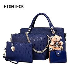 1378fede8d76 ETONTECK Women Bag Top-Handle Bags Female Famous Brand 2018 Women Girls  Messenger Bags Handbag 4 Set PU Leather Composite Bag ETONTECK Women Bag Top-Handle  ...