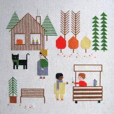 Fall Day Cross Stitch Pattern