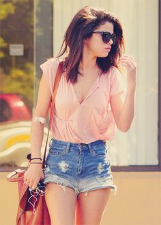 Coral tee with high waist jean shorts