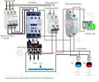 Esquemas eléctricos: Arranque de un motor trifásico con maniobra con te...