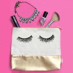 Eyelash Gold Leather Makeup Bag