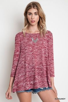 Umgee USA Ladies Peppered Knit Crochet Top 3/4 Sleeve Burgundy Sizes S M L New #UmgeeUSA #Tunic #Casual