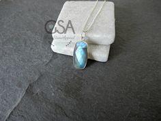 Labradorite Necklace Blue Flash Stone Iridescent Bar   Etsy