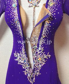 A front zipper is perfect for women who love to get in and out of the dress by themselves! Latin Ballroom Dresses, Ballroom Dance Dresses, Ballroom Dancing, Latin Dresses, Dance Outfits, Sport Outfits, Purple Dress, Dance Costumes, Dance Wear