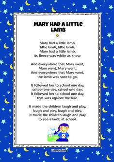 Mary Had a Little Lamb Song with FREE downloadable lyrics   Nursery Rhymes songs for kids Kids Nursery Rhymes Songs, Rhymes For Kids, Nursery Songs Lyrics, Kindergarten Songs, Preschool Songs, Kids Video Songs, Kids Videos, Free Song Lyrics, Baby Lyrics