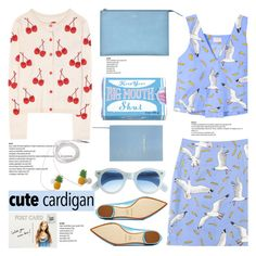 """No 242:My Favorite Cardigan"" by lovepastel ❤ liked on Polyvore featuring Nicholas Kirkwood, Blue Q, J.Crew, Sloane Stationery, Alice + Olivia, Club Monaco and mycardi"