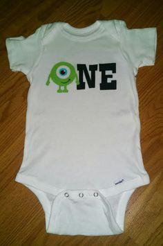 Monsters Inc - Mike Wazowski - 1st Birthday Boy Onesie or T-Shirt by tiffanylynnwilliams on Etsy