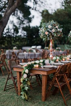 Floral Greenery Runners | Farm Table | King Protea | Rose Gold Vases | Tall Floral Designs | Outdoor Weddings | Posh Floral Designs