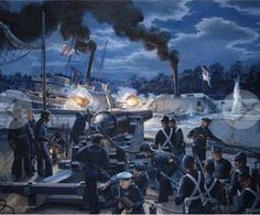 Beautiful painting of the Confederate ironclad Albemarle ramming the Union ship Southfield. The Albemarle earned a reputation as unsinkable.