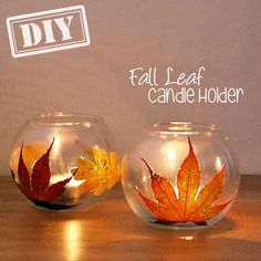 DIY Fall Leaf Candle Holder – Top Easy Interior Design For Thanksgiving Decor Project - DIY Craft (2)