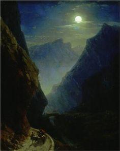 Darial Gorge. Moon night,c. 1868 by Ivan Aivazovsky
