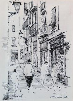carrer del Call, Barcelona. Joaquim Francés (tinta #ink)