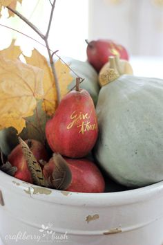 Simple Thanksgiving Tablescape ideas. Love the gold thank you on the red pear and the feathers.