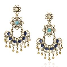 Golden Lotus Statement Earrings.  Go for the (antique) gold in this luxe set of statement-makers, inspired by a beautiful lotus – the national flower of India! Accented by semi-precious turquoise + sodalite with sparkling jonquil crystal, this intricate designs includes all the bells + whistles for a standout look like none other! $52 and 15% reward credit with our Passport Rewards! Shop my boutique. www.chloeandisabelbystephanie.com
