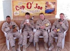 Soldiers enjoying our Cup O' Joe coffee. Mahalo for your service!