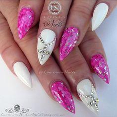 Luminous Nails: Hot Pink & White Acrylic Nails with Swarovski Crystal Crosses. Pink White Nails, Hot Pink Nails, White Acrylic Nails, Stiletto Nail Art, Rhinestone Nails, Bling Nails, Glitter Nails, Pink Glitter, Perfect Match Nail Polish