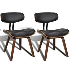 vidaXL Dining Chair Backrest Black Bent Wood PU Artificial Leather Kitchen - 8718475880875 For Sale, Buy from Dining Chairs Sets of 2 collection at MyDeal for best discounts. Faux Leather Dining Chairs, Fabric Dining Chairs, Chair Fabric, Leather Furniture, Dining Chair Set, Upholstered Dining Chairs, Bent Wood, Artificial Leather, Side Chairs
