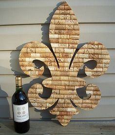 "22"" Almost 2 Feet Tall Wine Cork Fleur de Lis Handmade Wall Wedding Art Prop 