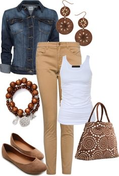 White tank, Beige trousers, Denim jacket, Brown accesories - Casual Outfit