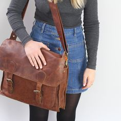 Messenger Satchel in Vintage Brown Leather Pouch, Leather Satchel, University Bag, Perfect Little Black Dress, Female Form, Messenger Bag, Purses And Bags, Brown Leather, Backpack
