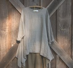** L shaped drape with added godet, see other views** tunic washed linen in cocoa natural stripe ready by linenclothing, $139.00
