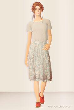 Always Sims: Momosims Long Wallflower Skirt & Tee - 3t2 - AF