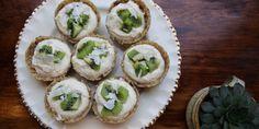 Almond tarts filled with vanilla yoghurt mascarpone and fresh fruit