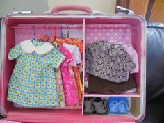 Made this diy suitcase into an American Girl doll case for my 10 yr. old niece for Christmas along with the clothes.