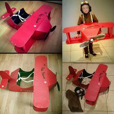 Déguisement d'aviateur pour le carnaval. Avion du petit prince. Réalisé à base de recup de carton. À retrouver sur http://viliv.canalblog.com