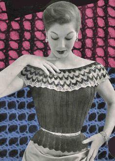 Vintage Knitting Pattern pdf  Jumper Paris Off Shoulder  Design Instant Download