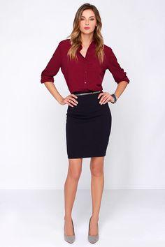Glamorous Business Dynamics Burgundy Long Sleeve Top at Lulus.com!