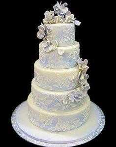 """""""Wedding Cakes - Mike's Amazing Cakes""""  Pale blue purple elegant wedding cake"""