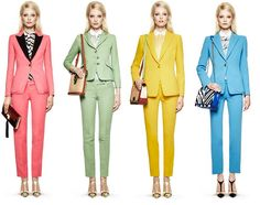 colorful suits! so cute! i absolutely ador all of these! and theres the cropped pant again..im on it