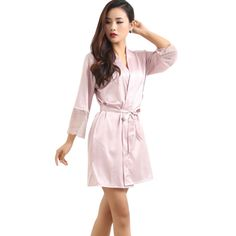 7.05$ (Buy here: http://alipromo.com/redirect/product/olggsvsyvirrjo72hvdqvl2ak2td7iz7/32668975091/en ) Mid-sleeve Sexy Women Deep-V Nightwear Robes Plus Size Lace Silk Female Bathrobes Sleepwear for just 7.05$