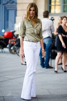 military shirt, white pants