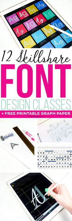Whether you want to create fonts for personal use or for profit, check out these 12 Skillshare Font Design Classes to learn the basics of typography and font creation. Font Design, Lettering Design, Creative Logo, Schrift Design, Create Font, Online Art Classes, Online Courses, Printable Activities For Kids, Free Printables