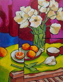 Por amor al arte: Angus Wilson Yarn Painting, Acrylic Painting Flowers, Painting & Drawing, Cubist Paintings, Colorful Paintings, Folk Art Flowers, Flower Art, Koi Art, Wilson Art