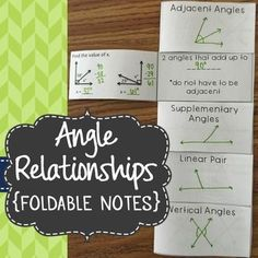 These foldable notes are perfect for an interactive math notebook! Students will draw a picture example on the front, fill in the definition, and solve examples involving missing angle measures for each type of angle relationship.Types of Angle Relationships Included:-Adjacent Angles-Complementary Angles-Supplementary Angles-Linear Pairs-Vertical AnglesNote: Students do not need prior knowledge of solving multi-step equations - these notes are merely an introduction to the basics of these 5…