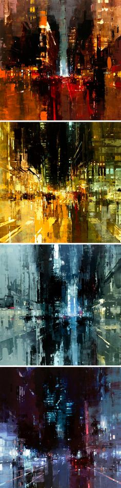 New Oil-Based Cityscapes Set at Dawn and Dusk by Jeremy Mann: Abstract Landscape, Landscape Paintings, Painting Abstract, Acrylic Paintings, Abstract Portrait, Colossal Art, City Art, Oeuvre D'art, Painting Inspiration