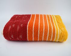 Vintage Dickies Beach Towel - Retro Red Orange Yellow Stripes Links Bath Towel - Made in Australia Yellow Stripes, Orange Yellow, Bold Colors, Colours, Beach Towel, Towels, Australia, Bath, Retro