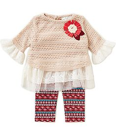 Rare Editions Baby Girls 324 Months CrochetedLaceChiffon Top and Printed Leggings Set #Dillards