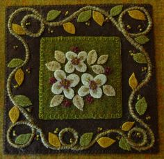 Primitive hand dyed wool applique dogwood by HorseAndBuggyCountry