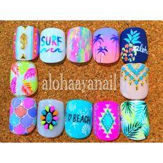 WEBSTA @ alohaaya26 - foot nail**フットはいつも12パターン考えるの大変でも12パターン作って載せたいので一生懸命試行錯誤しながら作ってます**#ネイル#nail#nails#nailart#foot#footnail#フットネイル#shell#starfish#beach#surf#aloha#シェル#ヒトデ#アロハ#ボタニカル柄#フェザー#ネイティブ柄#ターコイズ#タイル柄#pineapple#パイナップル#タツノオトシゴ#palmtree#ヤシの木