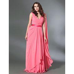 Chiffon Sheath/Column V-neck Floor-length Evening Dress inspired by Rebecca Hall Violante Placido – USD $ 149.99